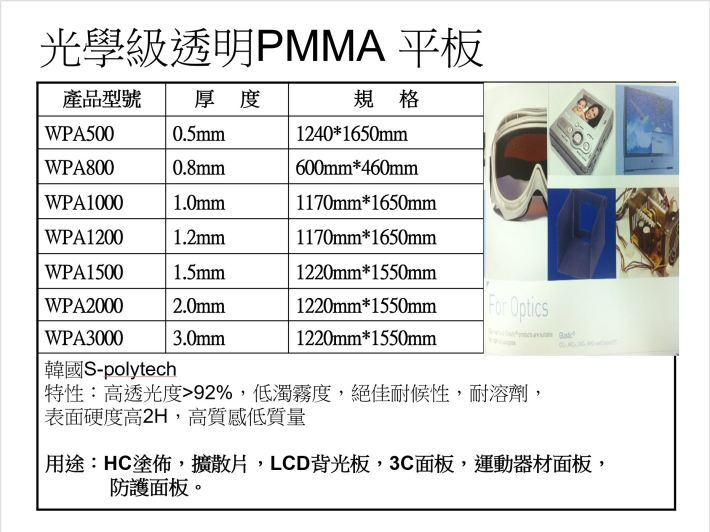 光學級透明PMMA平板